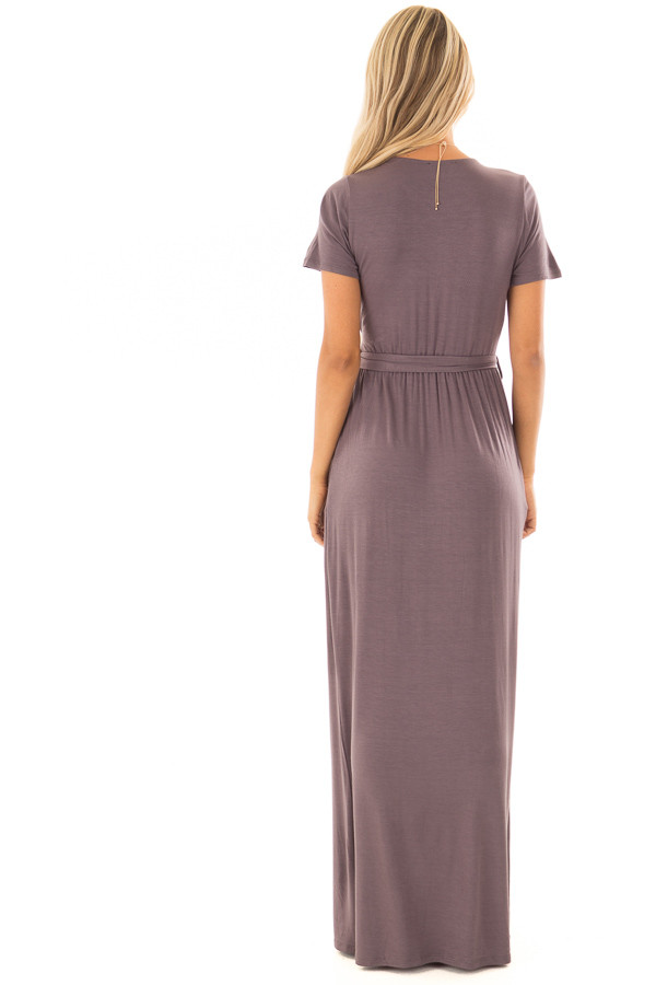 Charcoal Maxi Dress with Layered Front and Waist Tie back full body