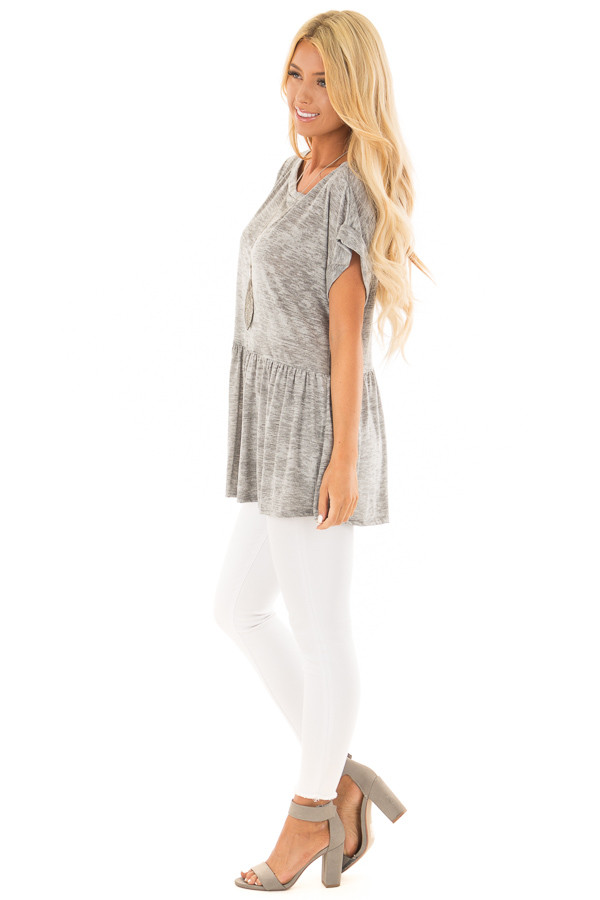 Heather Grey Two Tone Flared Ruffle Top with Folded Sleeves side full body