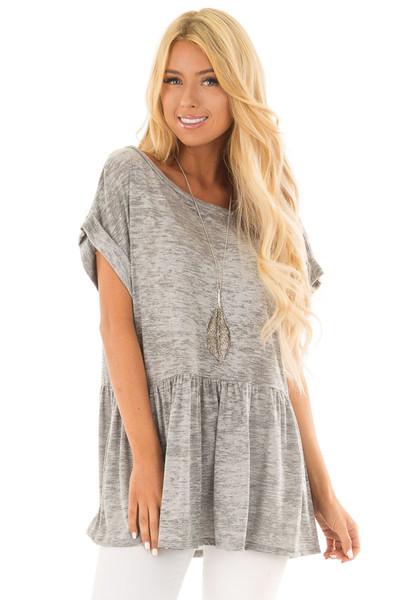 Heather Grey Two Tone Flared Ruffle Top with Folded Sleeves front closeup