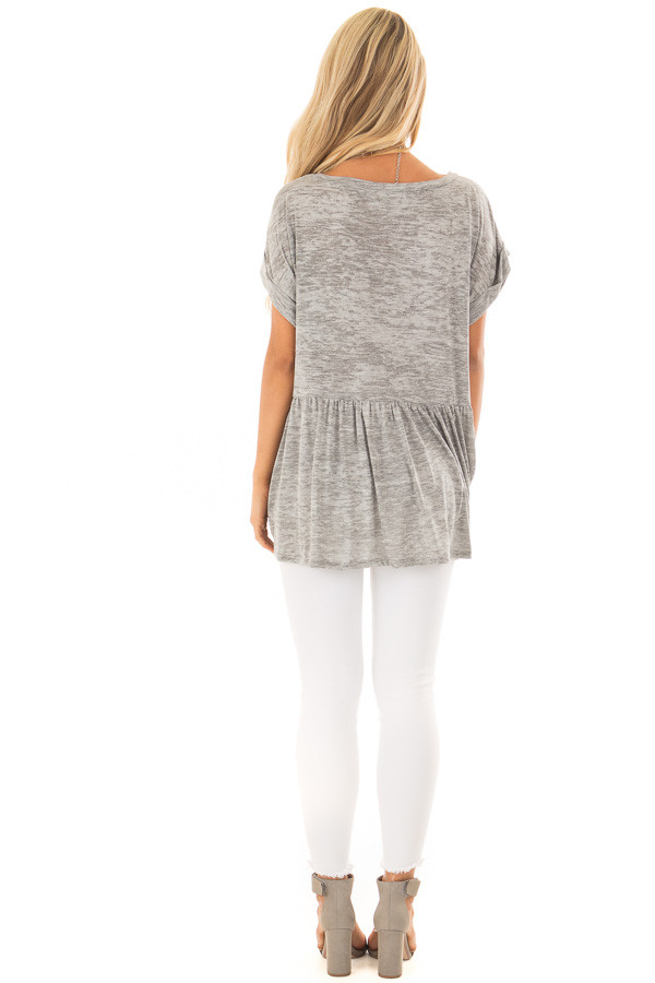 Heather Grey Two Tone Flared Ruffle Top with Folded Sleeves back full body