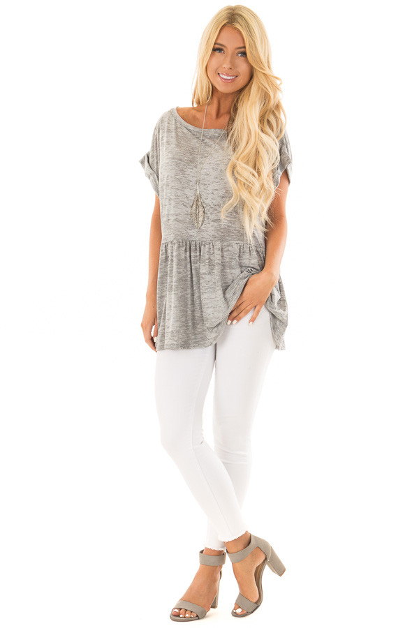 Heather Grey Two Tone Flared Ruffle Top with Folded Sleeves front full body