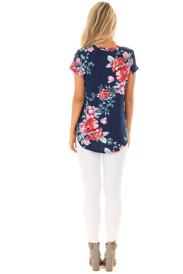 Navy Floral Print Short Sleeve Top back full body