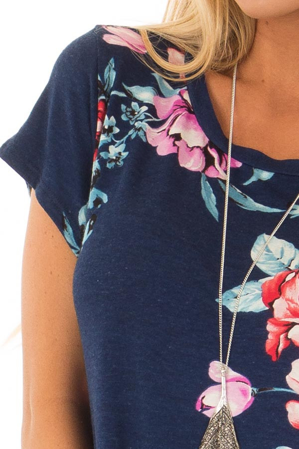 Navy Floral Print Short Sleeve Top front detail