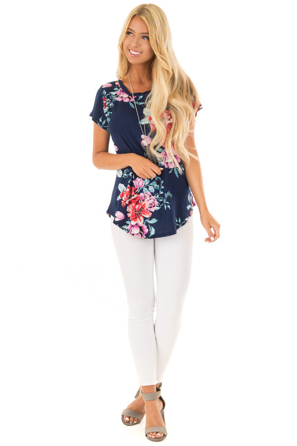 Navy Floral Print Short Sleeve Top front full body