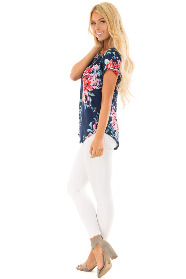 Navy Floral Print Short Sleeve Top side full body