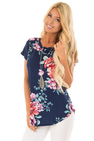 Navy Floral Print Short Sleeve Top front closeup
