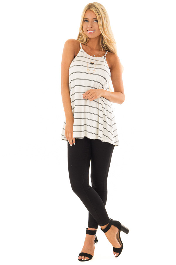 Off White and Black Striped Ribbed Sleeveless Tank Top front full body