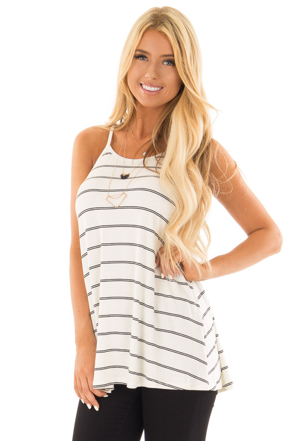 Off White and Black Striped Ribbed Sleeveless Tank Top front closeup