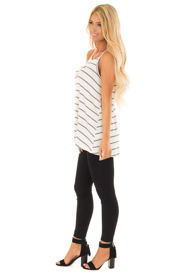 Off White and Black Striped Ribbed Sleeveless Tank Top side full body