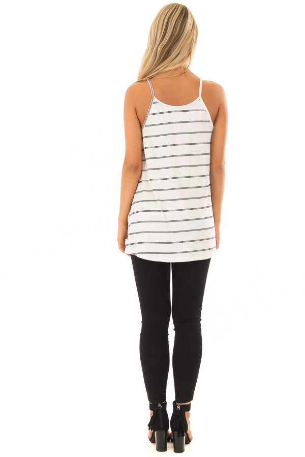 Off White and Black Striped Ribbed Sleeveless Tank Top back full body