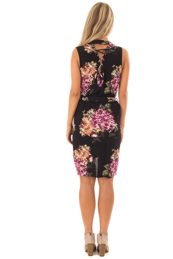 Black Floral Print Button Down Dress with Waist Tie back full body