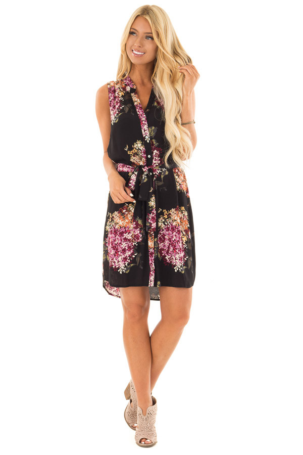 Black Floral Print Button Down Dress with Waist Tie front full body