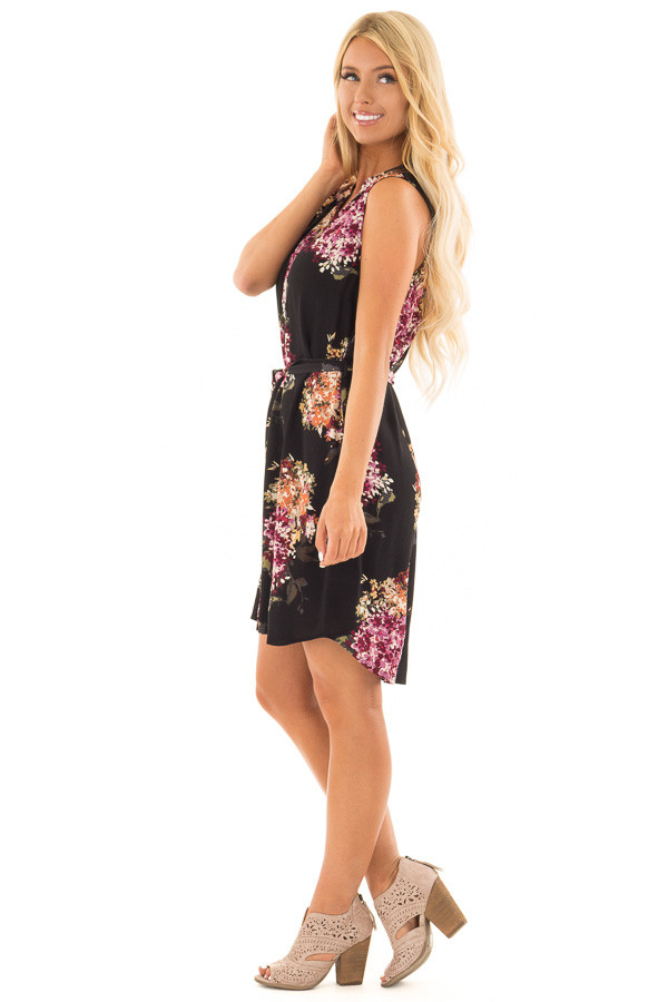 Black Floral Print Button Down Dress with Waist Tie side full body