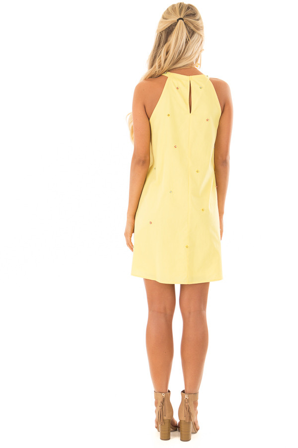 Lemon Yellow Sleeveless Dress with Rhinestone Flower Detail back full body