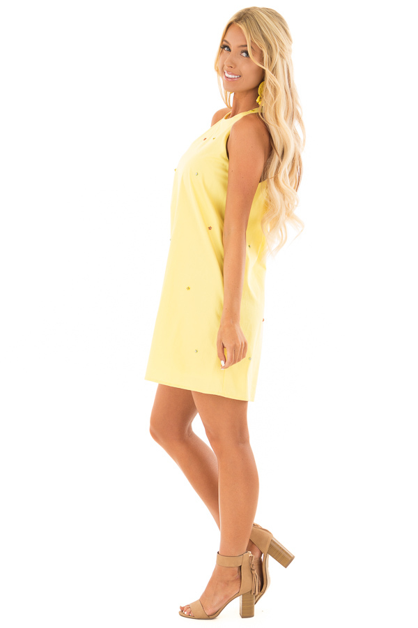 Lemon Yellow Sleeveless Dress with Rhinestone Flower Detail side full body