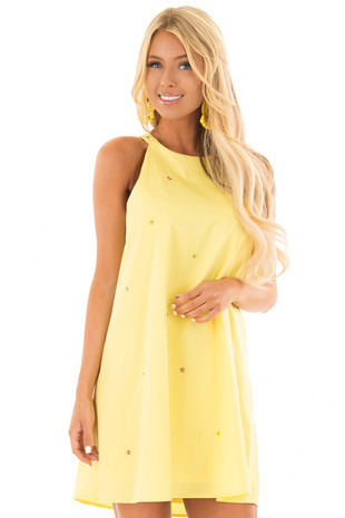 Lemon Yellow Sleeveless Dress with Rhinestone Flower Detail front closeup