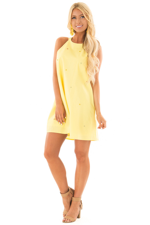Lemon Yellow Sleeveless Dress with Rhinestone Flower Detail front full body