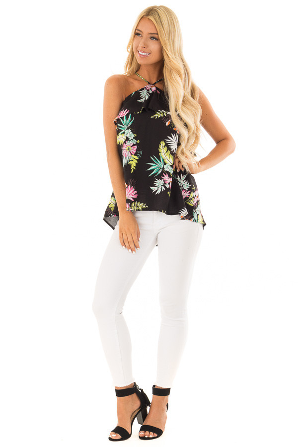 Black Tropical Print Halter Tank Top with Ruffle Detail front full body