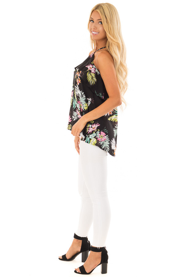 Black Tropical Print Halter Tank Top with Ruffle Detail side full body