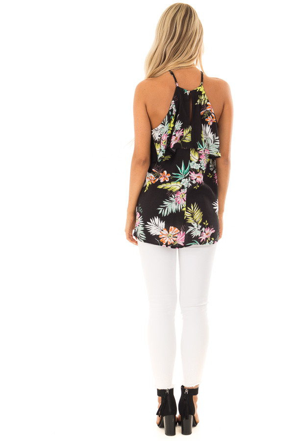 Black Tropical Print Halter Tank Top with Ruffle Detail back full body