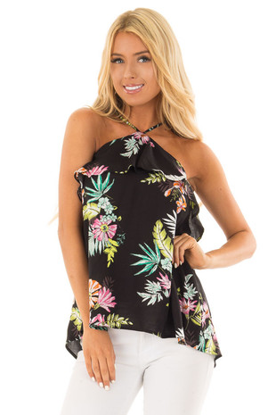 Black Tropical Print Halter Tank Top with Ruffle Detail front closeup