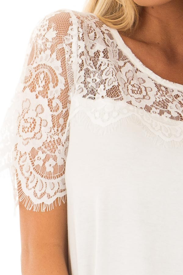 Off White Lace Yoke Top with Short Scalloped Lace Sleeves front detail
