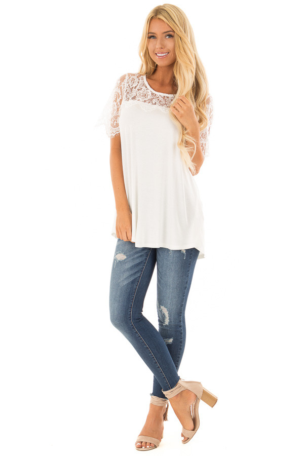 Off White Lace Yoke Top with Short Scalloped Lace Sleeves front full body