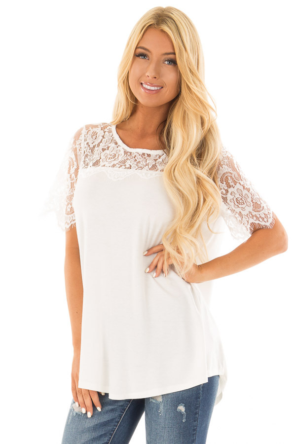 Off White Lace Yoke Top with Short Scalloped Lace Sleeves front closeup