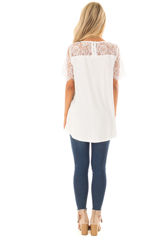 Off White Lace Yoke Top with Short Scalloped Lace Sleeves back full body