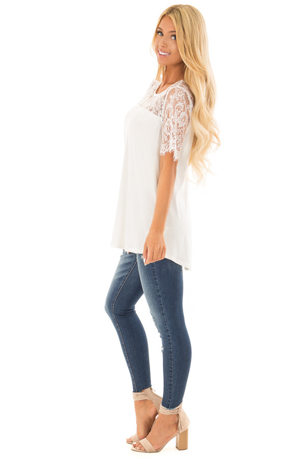 Off White Lace Yoke Top with Short Scalloped Lace Sleeves side full body