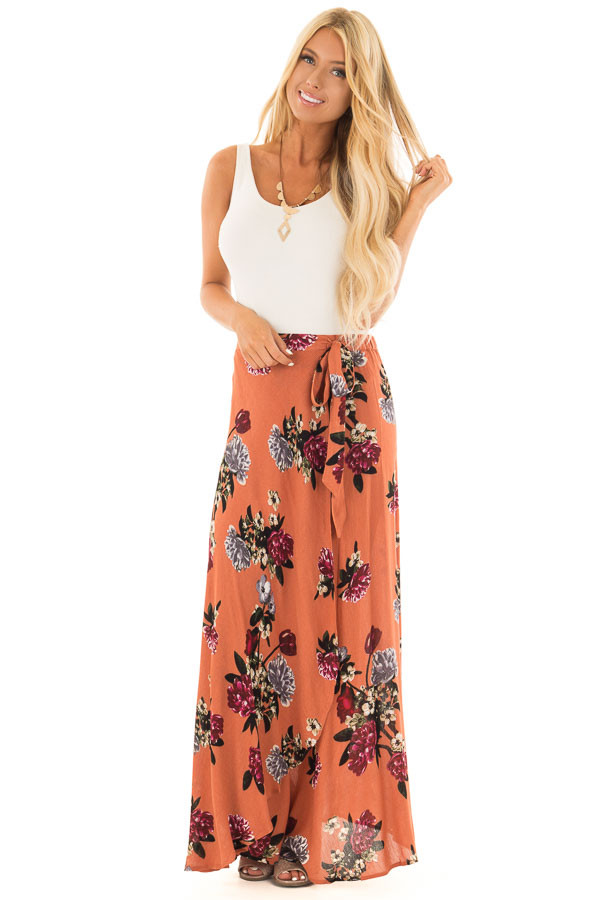 Rust Floral Print Wrap Skirt with Waist Tie front full body