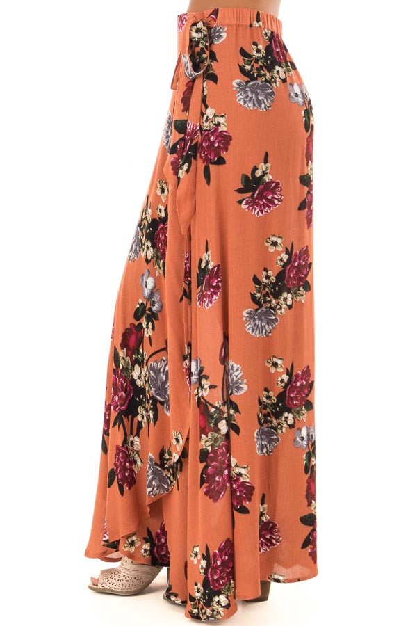 Rust Floral Print Wrap Skirt with Waist Tie right side