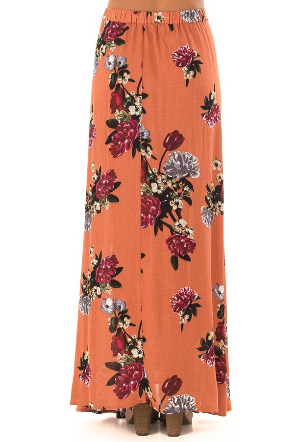 Rust Floral Print Wrap Skirt with Waist Tie back