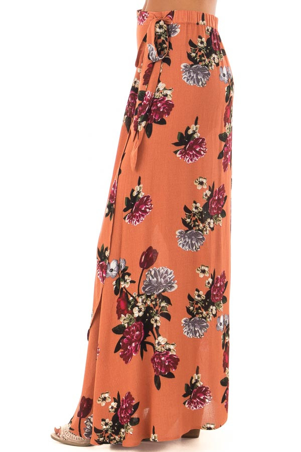 Rust Floral Print Wrap Skirt with Waist Tie left side