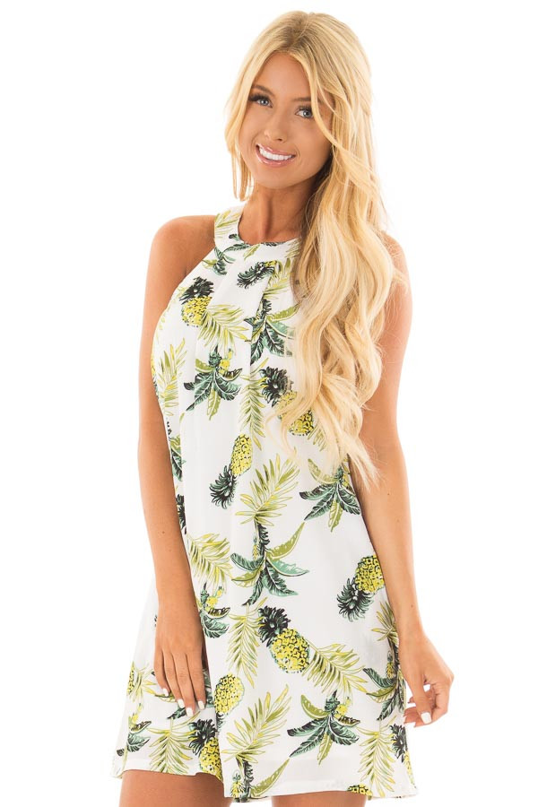White Pineapple Print Sleeveless Dress with Pockets front closeup