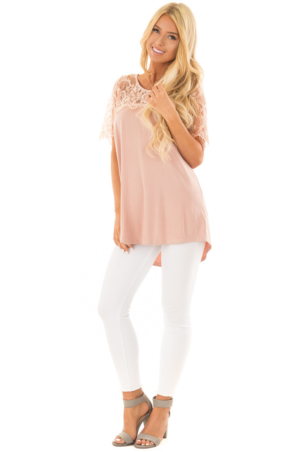 Blush Lace Yoke Top with Short Scalloped Lace Sleeves front full body