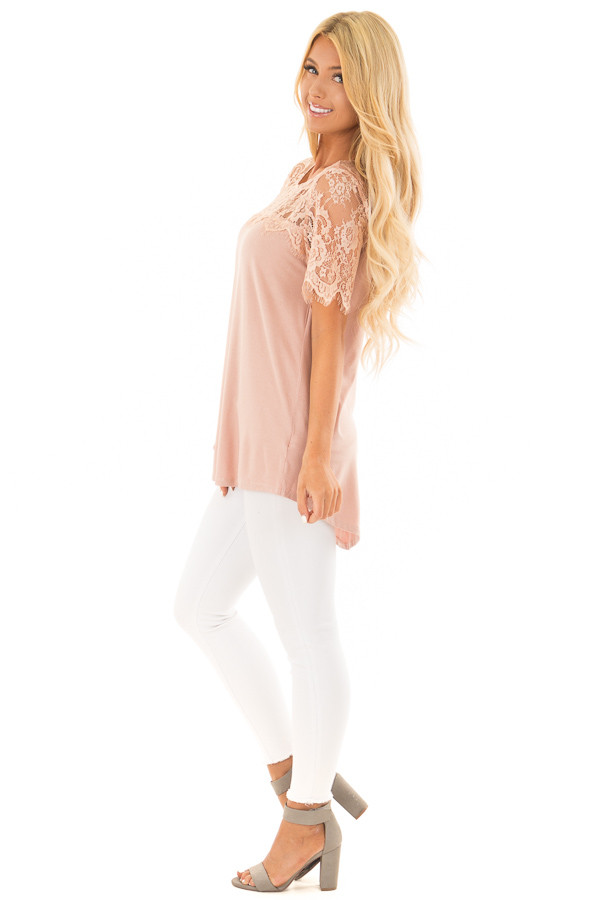 Blush Lace Yoke Top with Short Scalloped Lace Sleeves side full body