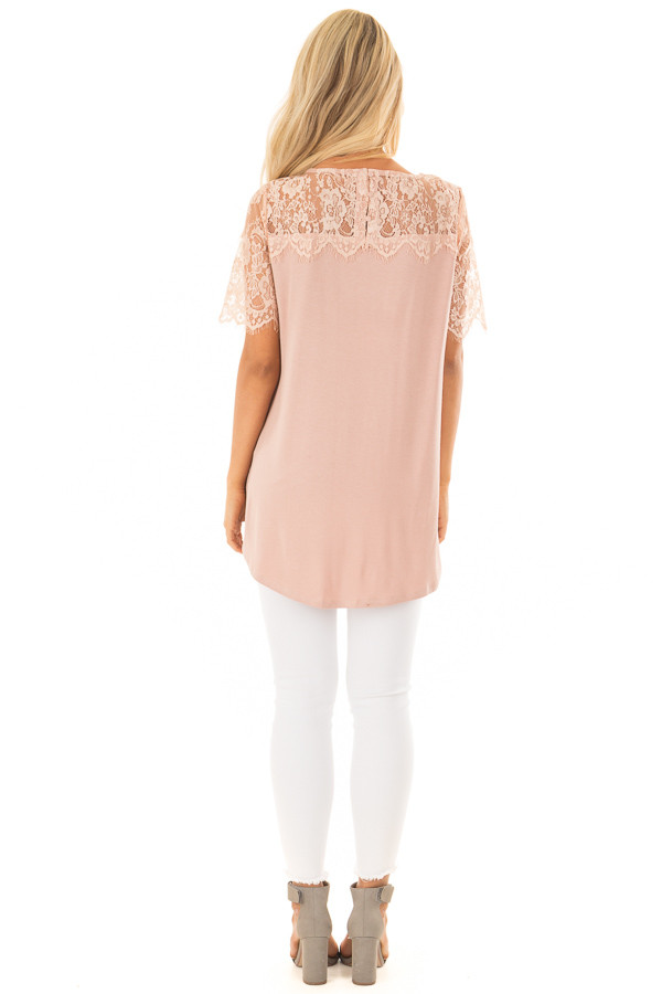Blush Lace Yoke Top with Short Scalloped Lace Sleeves back full body