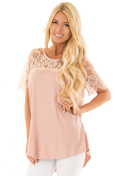 Blush Lace Yoke Top with Short Scalloped Lace Sleeves front closeup