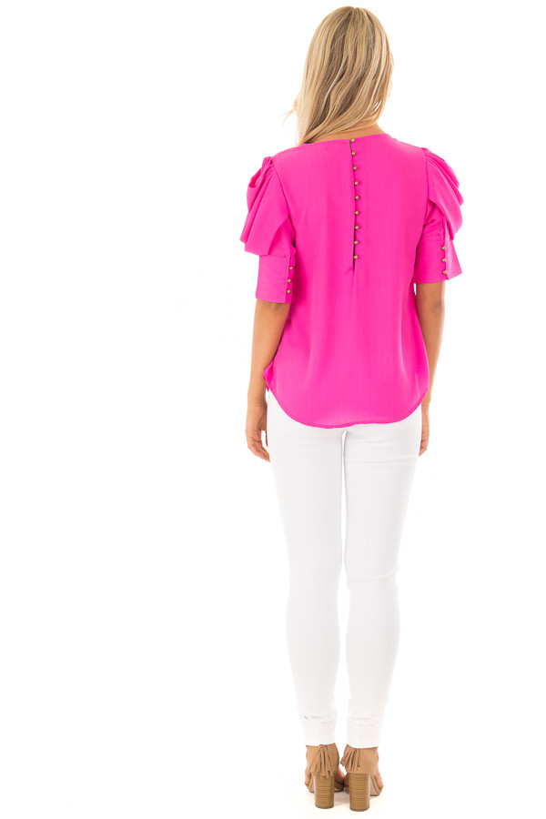Hot Pink Short Sleeve Top with Button Accent Back back full body