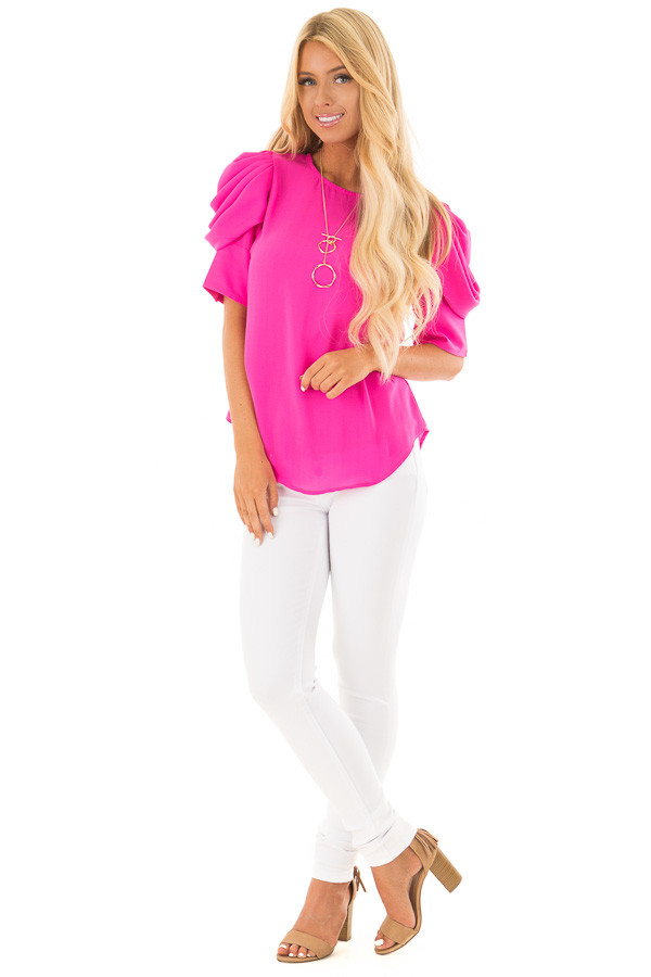 Hot Pink Short Sleeve Top with Button Accent Back front full body