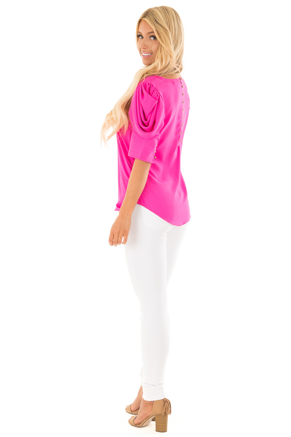 Hot Pink Short Sleeve Top with Button Accent Back back side full body