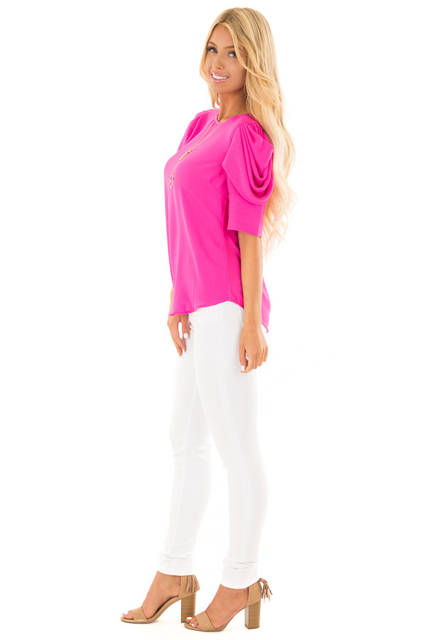 Hot Pink Short Sleeve Top with Button Accent Back side full body