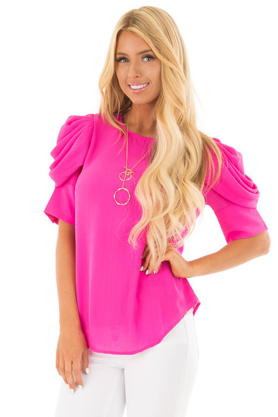 Hot Pink Short Sleeve Top with Button Accent Back front close up