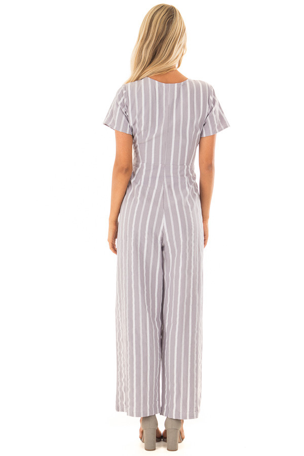 Heather Grey Striped Short Sleeve Jumpsuit with Waist Tie back full body