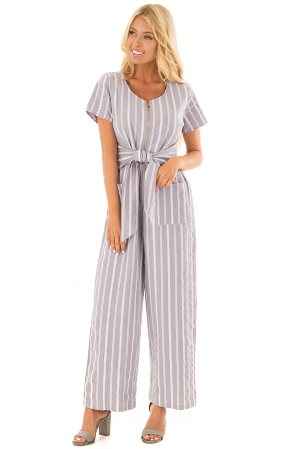 Heather Grey Striped Short Sleeve Jumpsuit with Waist Tie front full body