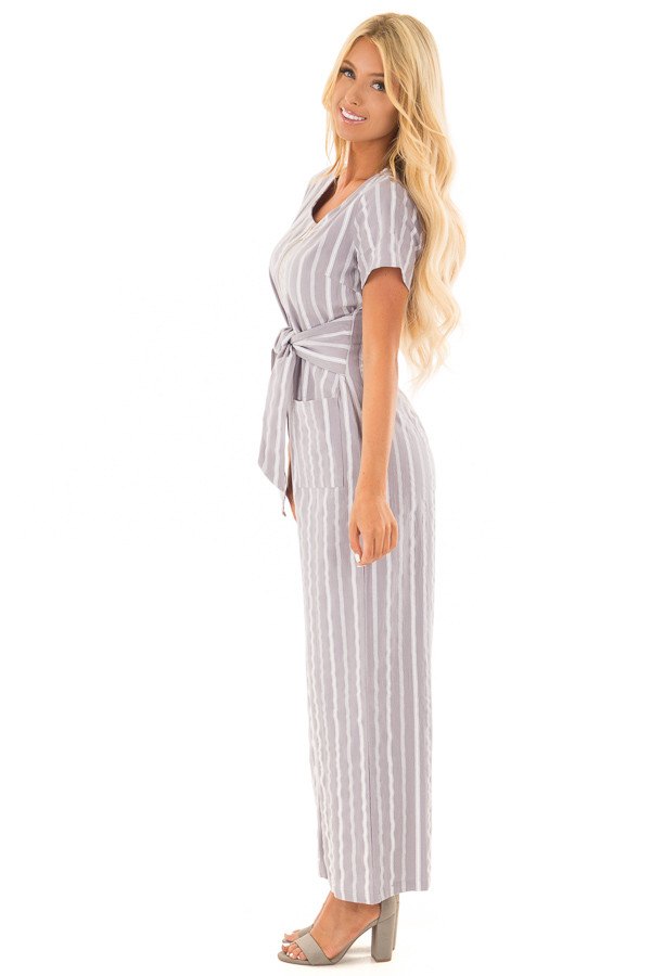Heather Grey Striped Short Sleeve Jumpsuit with Waist Tie side full body