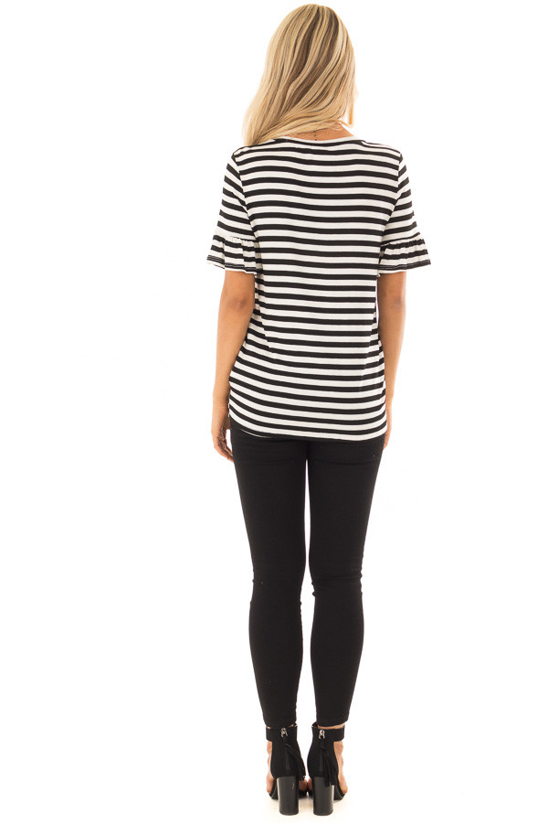 Black and Ivory Striped Tee with Tie Front Detail back full body
