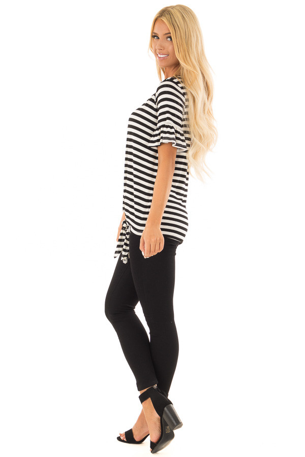 Black and Ivory Striped Tee with Tie Front Detail side full body