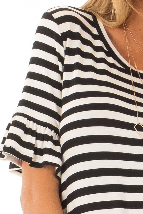 Black and Ivory Striped Tee with Tie Front Detail detail